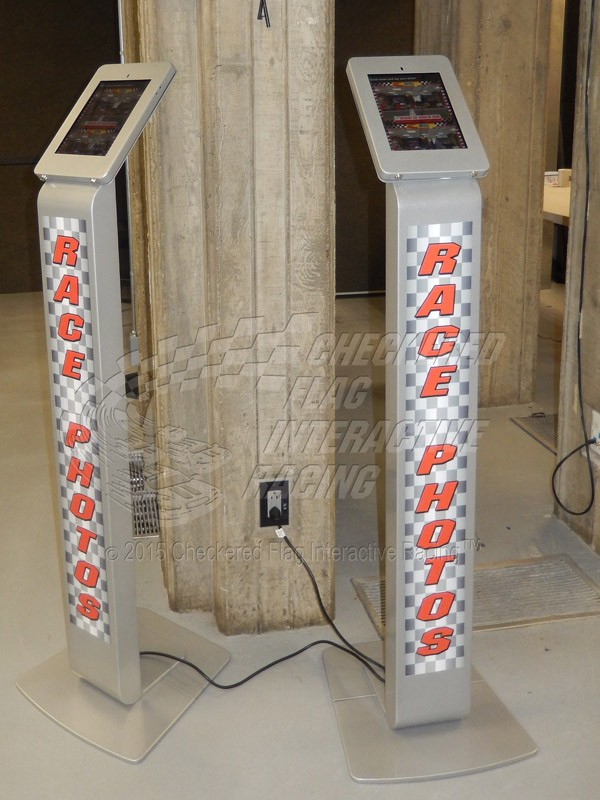 Two of our photo kiosks at a racetrack event.