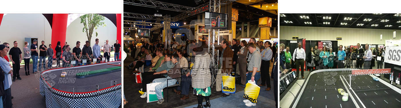 Images of game shows and interactive racing as trade show booth entertainment